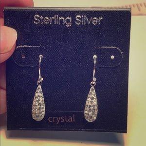Crystal earrings on sterling silver  beautiful
